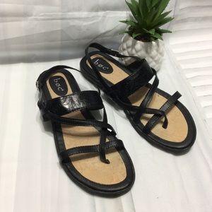 Boc Black Floral Print Strap Sandals Sz 11